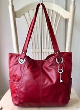 FOSSIL HATHAWAY Red Soft Leather X-Large Tote Shoulder Handbag Purse Carryall