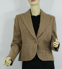 d19fad6cc Ralph Lauren Polo Wool Jacket Womens 8 Beige Tan Check Made in Italy