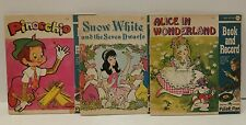 Lot of 3 Peter Pan Book & Records/Pinocchio, Snow White & Alice in Wonderland