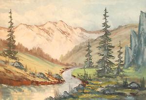 Antique impressionist gouache painting mountain river landscape