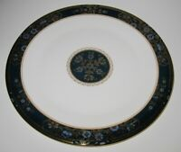Royal Doulton CARLYLE, Blue Flowers Gold Leaves Teal Band, Dinner Plate, 10 5/8""