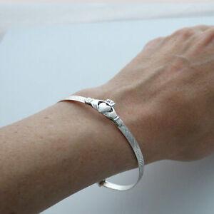 Irish Claddagh Bangle Bracelet - 925 Sterling Silver - Love Loyalty Friendship