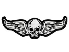 "Ecusson TETE DE MORT AILEE 35cm ailes 14"" back patch biker winged skull wings"