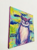 Abstract Acrylic Painting Bird Owl Wall Art Home Decor Artwork Hand Painted