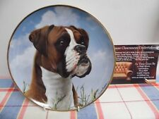 "Danbury Mint Plate by Simon Mendez "" His Masters Call "" The Boxer Dog"