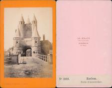 Braun, Pays-Bas, Haarlem, Porte d'Amsterdam Vintage CDV albumen carte de vi