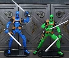 """Marvel Legends Blue & Green DEADPOOL 3.75"""" Figures, from the Rainbow Squad set."""