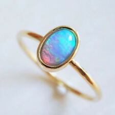 Rainbow Fire Opal 925 Silver Ruby Flower Rings Prom Jewelry Delicate Ring Lady's