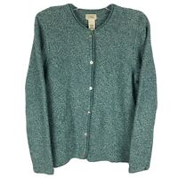 LL Bean Women's Cardigan Sweater Size L Teal Marled Cotton