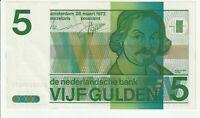 Vintage Banknote Netherlands 1973 5 Gulden Pick 95 UNC US Seller