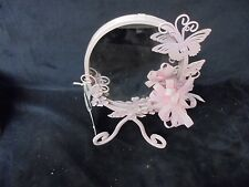 Sheffield HOME Pink Metal  Vanity Mirror Table Butterfly, Flowers & Ribbon 10x6