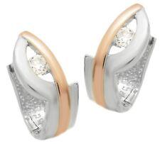 Ohrringe Creole Silber 925 Rotvergoldet Anlaufschutz  Zirkonia Weiss Neu 4151