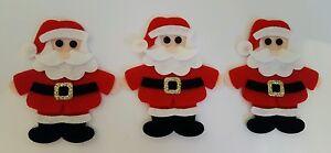 X3 Handmade  Felt Santa Embellishments. Christmas embellishments. Die cuts