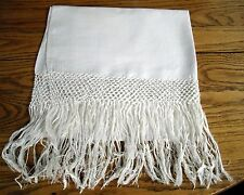 """Vintage Off-White Brocade Piano Scarf Table Runner  25 1/2"""" x 46"""" ~"""