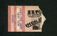 Original 1977 Zz Top Concert Ticket Stub Bakersfield World Wide Texas Tour