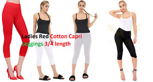 LADIES WOMEN Cropped 3/4 Capri Length Cotton Leggings Summer Plus Size Uk 8-22