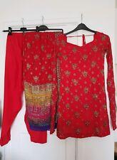 Women's Handmade Raw Silk & Chiffon Sequinned 3 Piece Shalwar Kameez Size Small