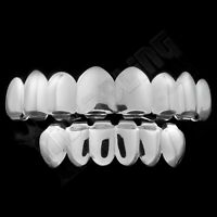 18K White Gold Plated JOKER Grill Silver Mouth GRILLZ 8 Tooth Top 6 Bottom Teeth
