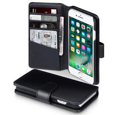 Real Genuine Leather Wallet Case for New Apple iPhone 7/8 - Black