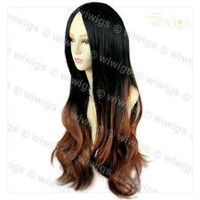 Amazing Black Brown & Red Long Wavy Lady Wigs Dip-Dye Ombre Hair From WIWIGS UK