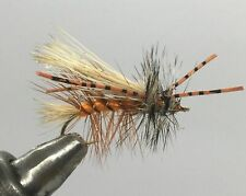 One Dozen (12) - Rubber Legged Crystal Stimulator - Orange - Dry Fly