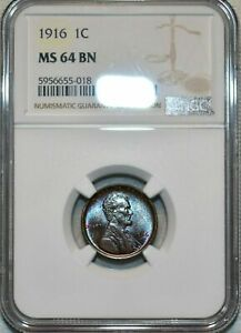 1916-P U.S 1 CENT LINCOLN CENT NGC MS 64 BN BEAUTIFUL EYE APPEAL LIGHT TONED