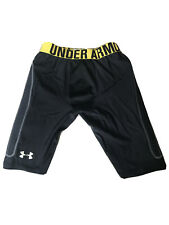Under Armour HeatGear Mens Compression Shorts Black And Yellow Padded Small S