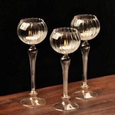 Transparent Glass Candle Holder Flower Shape Christmas Wedding Party Decoration