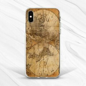 Retro World Map Vintage Brown Case Cover For iPhone 6S 7 8 Xs XR 11 Pro Plus Max