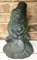 "Vintage 10 1/2"" Tall Cement Courting Frog Hat Flower Garden Art Statue Concrete"