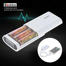 Soshine E5 LCD 3 Slots 18650 Battery Charger Power Bank Function USB Cable O6Q4