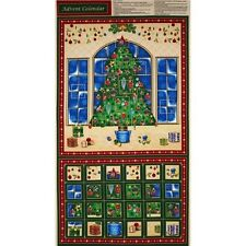 Christmas Tree Scene Season's Greetings Advent Panel 100% Cotton Fabric