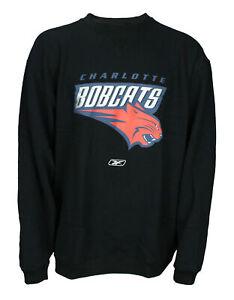 Reebok Charlotte Bobcats NBA Mens Vintage Pullover Fleece Crew Sweatshirt, Black