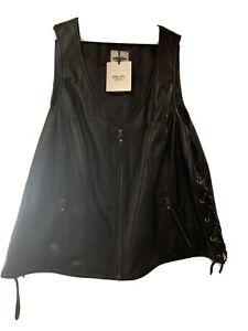 Harley Davidson Women's Zip Leather Motorcycle Vest 3W Plus Size NWT!