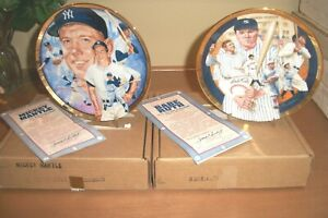 Mickey Mantle Babe Ruth Plates Hamilton Collection Sports Impressions W/ COAs