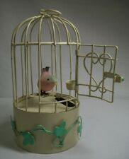 Vintage Animatronic Tole Bird Cage Music Box Pink Bird on Swing Edelweiss Works