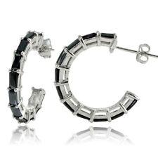 Sterling Silver Black Cubic Zirconia Baguette Cut Half Hoop Earrings