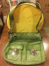 Marc Jacobs Designer Avocado Green Pebbled Leather Double Pocket Satchel Bag
