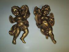2 Vintage Homco 1120 Gold Cherubs / Angels Wall Hangings