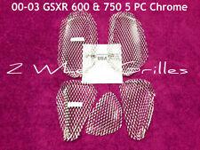 2002 02 SUZUKI GSXR 600 750 5 PC CHROME FAIRING GRILLS SCREENS VENTS MESH L@@K