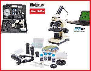TOP Bresser USB Mikroskop Schülermikroskop Set im Koffer Biolux NV 20x-1280x