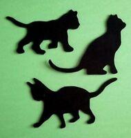 CAT CATS KITTEN KITTENS SILHOUETTE 18 x (6 sets 3) of  Die Cuts Black Card