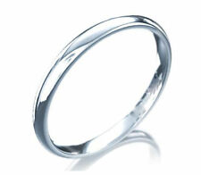 Comfort fit Plain Wedding Band Ring 14K White Gold 2mm