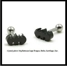 "16g 1/4"" BLACK PVD PLATED BATMAN BAT TRAGUS CARTILAGE HELIX EARRING BARBELL"