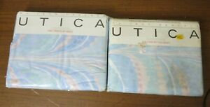 Vintage 1985 JP Stevens Utica Pastel Twin Flat Sheet & Fitted Non Iron Percale