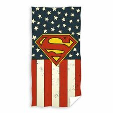OFFICIAL SUPERMAN LOGO BEACH TOWEL COTTON VELOUR-FEEL CHILDRENS USA FLAG