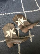 VIC MATIE Cowboy Boots Star Embroidered  Size Eu 39 Us 8.5 ITALY Euc