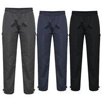 Mens Elasticated Waist Winter Fleece Lined Cargo Trouser Bottoms Size M L XL XXL