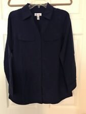 Denim Co Roll Tab Sleeve Button Front Soft Utility Tunic 3X A227885 Bright Navy