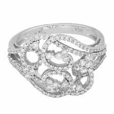 18Carat White Gold Large Pave Set Diamond (TCW 0.55CT) Cocktail Ring (Size N)